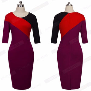 Contrast Color Block Bodycon Fitted Business Dress Verkadi.com