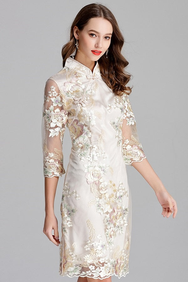 Floral Embroidery Cheongsam Plus Size Midi Dress