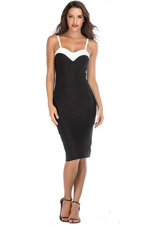Strapless Patchwork Sheath Midi Bodycon Dress