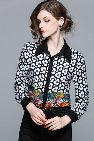 Vintage Printed Women's Shirt Blouse Top