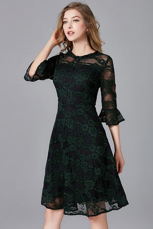 Floral Ruffles Sleeves A-Line Hollow Lace Mini Dress