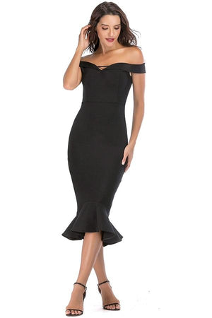 Off Shoulder Mermaid Bandage Midi Dress
