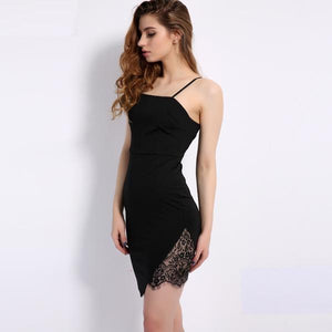 Sexy Spaghetti Strap Sheath Side Lace Party Club Dress Verkadi.com