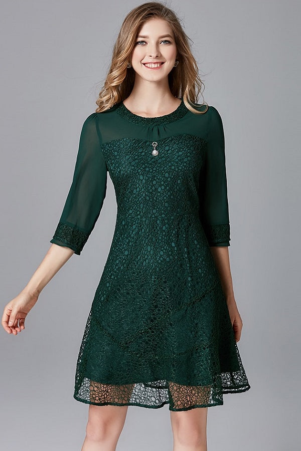 Chiffon Quarters Sleeves Lace A-Line Mini Dress