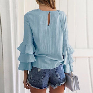 Elegant O-Neck Flounce Long Sleeve Loose Blouse Top Verkadi.com