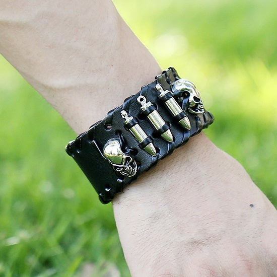 Skull and Bones Leather Unisex Punk Bracelet