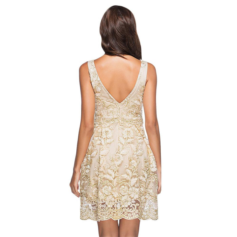 Sexy V Back Embroidery Lace Sleeveless A-Line Party Dress Verkadi.com