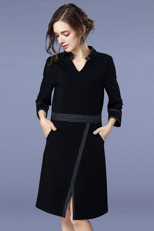 Black Pocket Tunic Split Plus Size Professional Midi Dress