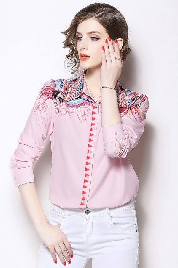 Turn-down Collar Pink Printed Women's Shirt Blouse Top