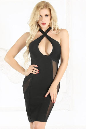 Bandage Open Back Halter Mesh Patchwork Mini Dress