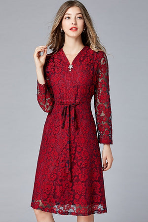 Hot Deep V-Neck Floral Lace A-Line Midi Dress