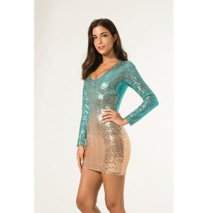 Hot O Neck Sequin Bodycon Glitter Club Mini Sequined Dress Verkadi.com