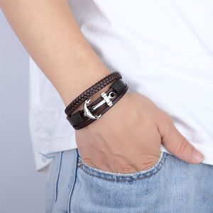 Hip Multi Layered Unisex Steel Leather Ship Anchor Bracelet