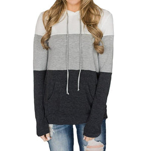 Smart Color Stripe Long Sleeve Sweatshirts Hoodie