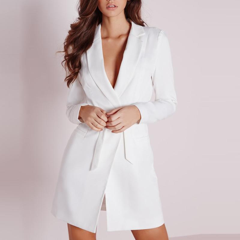Smart Casual Slim Office Plunge Neck Elegant Blazer Mini Dress Verkadi.com