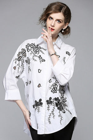 Embroidery Cotton Loose Casual Women's Shirt Top