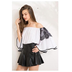 Sexy Slash Mesh Patchwork Flare Sleeve Chiffon Top Blouse Verkadi.com