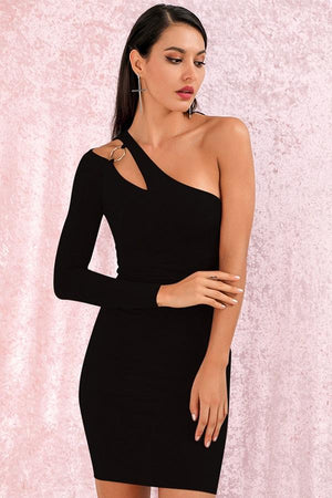 Black Cut Out Off Shoulder Bodycon Party Mini Dress