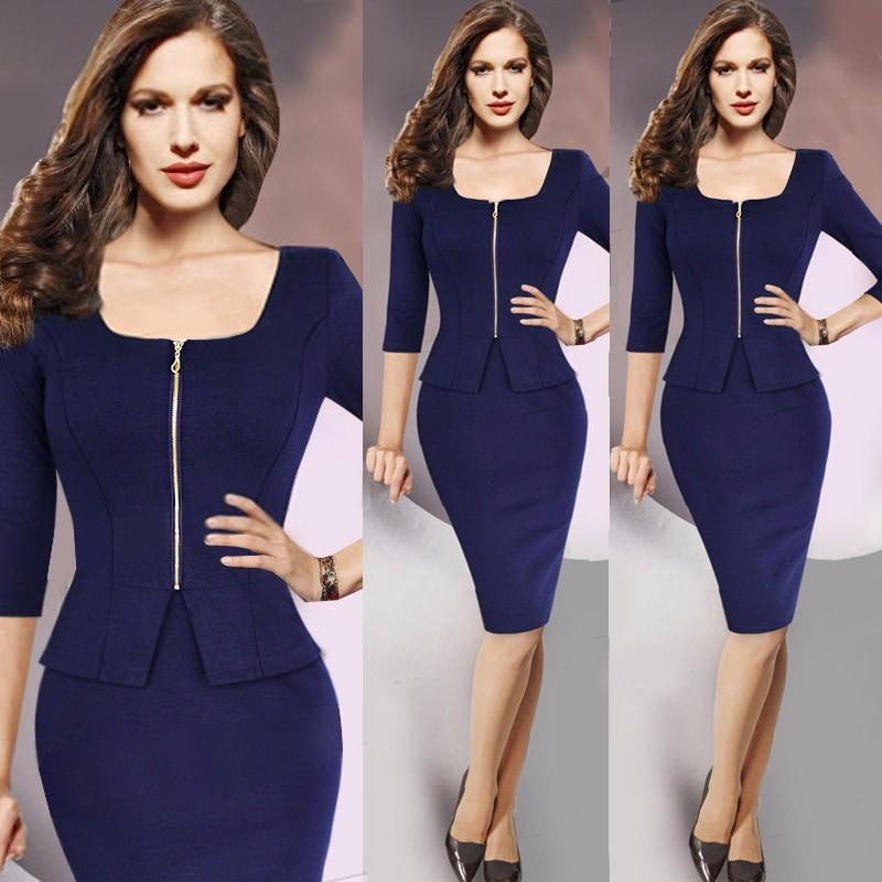 Pinup Vintage Front Zipper Elegant Solid Color Dress Verkadi.com