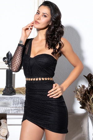 Black Tube Top Pleated Bodycon Party Mini Dress