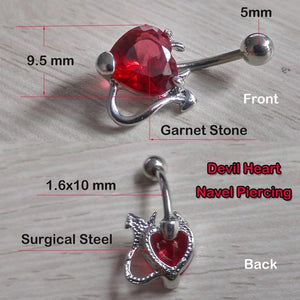Devil Heart Ruby Red 14 G Belly Button Ring