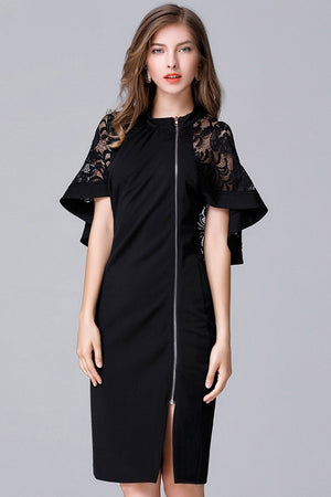 Lace Patchwork Cloak Sleeves Pencil Mini Dress