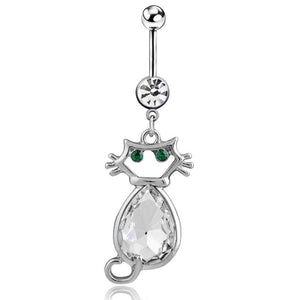 Sexy Cat Water Drop Rhinestone Navel Piercing Belly Button Ring