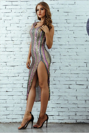 Sexy Sleeveless V-Neck Bodycon Sequined Club Party Midi Dress