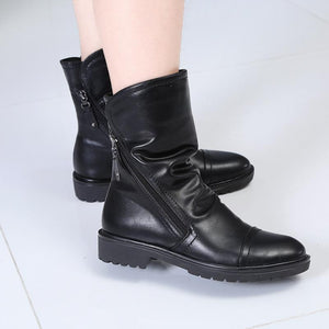 Hip Soft PU Leather Square Heel Ankle Boots