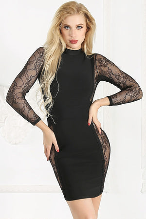 Crochet Open Back Patchwork Lace Bodycon Party Mini Dress