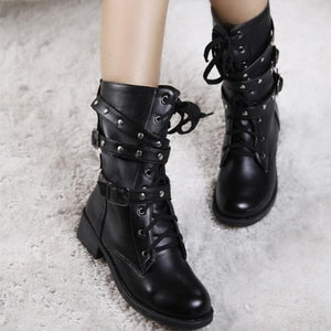 Vintage Rivet Punk Goth Ankle Motorcycle Leather Boots Verkadi.com