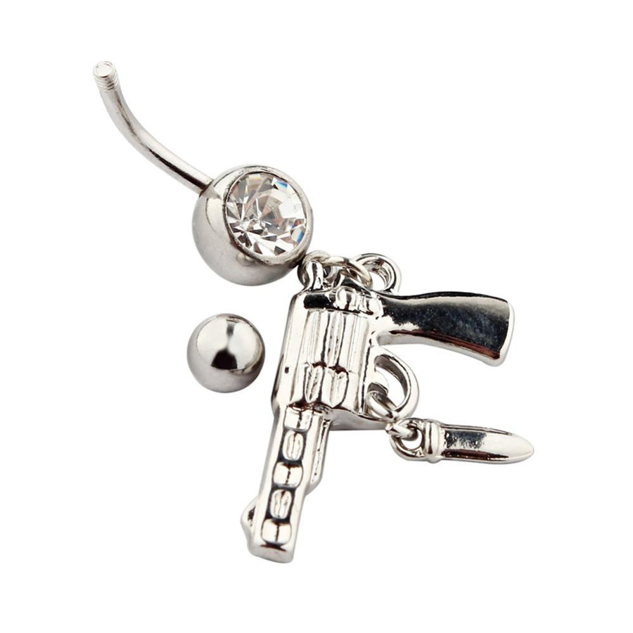 Clear Crystal Cowboy Belly Piercing Gun Belly Button Ring