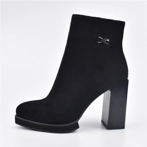 French Style Flock Leather Square High Heels Ankle Boots Verkadi.com
