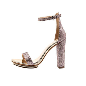 Elegant Platform High Heels Peep Toe Sequins Bling Sandals
