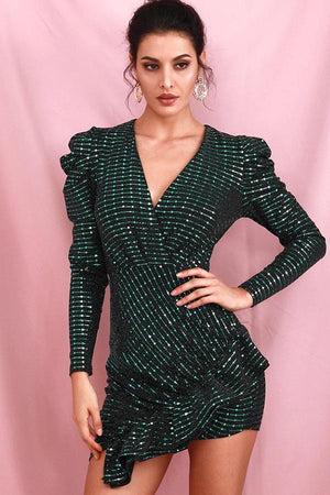 Deep Green Long Sleeve Ruffled Sequins Party Mini Dress