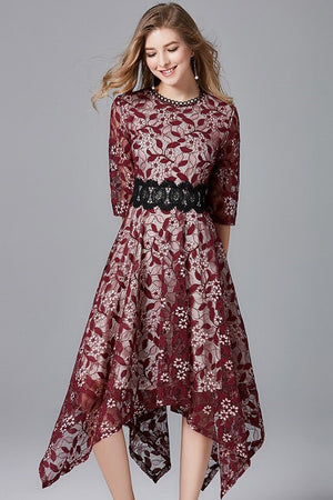 loral Lace Asymmetrical Patchwork Midi Dress