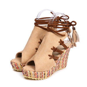 Gladiator Cross Tied High Heels Wedges Peep Toe Platform Sandals