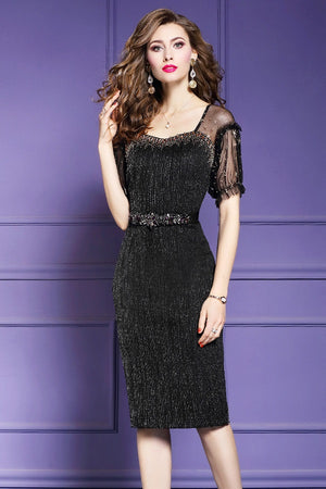 f300004e50 Sexy Package Hip Beading Lace Formal Party Midi Dress