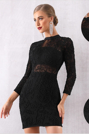 Black Long Sleeve Lace Bandage Club Party Dress