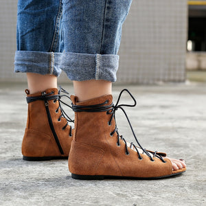 Hot Ankle Suede Cross Tied Flat Women Gladiator Sandals