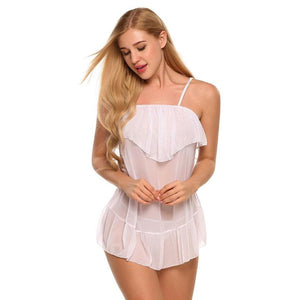Strap See-Through Ruffles Sexy Nightwear With G String Lingerie Verkadi.com