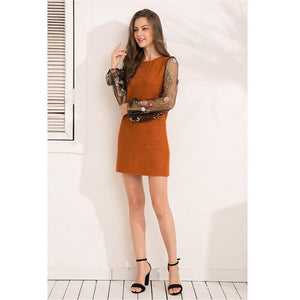 Knitted Mesh Patchwork High Street Casual Dress Verkadi.com