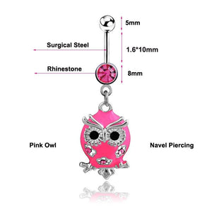 Cute Pink Owl Navel Piercing  Belly Button Ring Verkadi.com