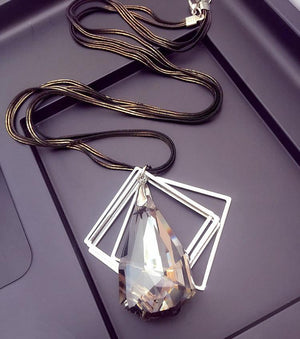 Crystal Drop Trapezoidal Necklace Pendant