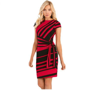 Trendy Pencil Stripe Knot Sheath Work Dress Verkadi.com