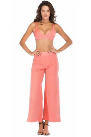 Backless Crop Top & Flare Pants High Street Dress
