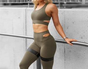 Sexy Solid Breathable Sports Gym Fitness Yoga Set