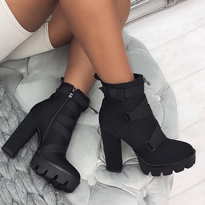 Hip Square Thick High Heel Platform Ankle Boots