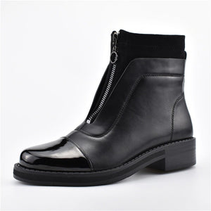 Designer Front Zip Chunky Heel Slip On Women Ankle Boots