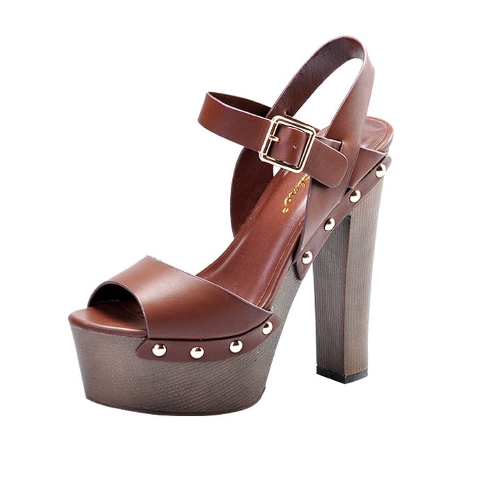 Riveted High Heels Peep Toe Ankle Strap Platform Sandals